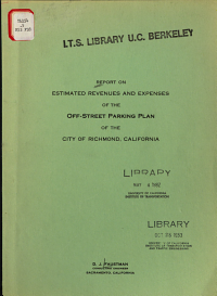 Report on Estimated Revenues and Expenses of the Off street Parking Plan of the City of Richmond  California