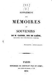 Mémoires, souvenirs, opinions et écrits: Supplément, Volume3