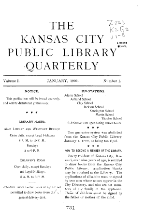 The Kansas City Public Library Quarterly