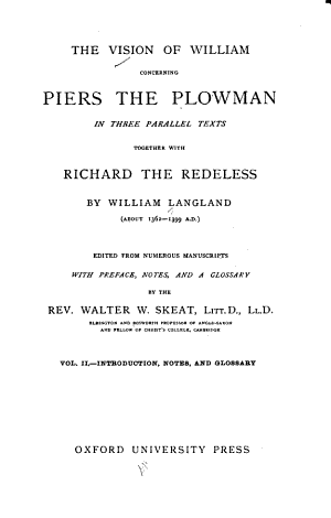The Vision of William Concerning Piers the Plowman: Introduction, notes, and glossary