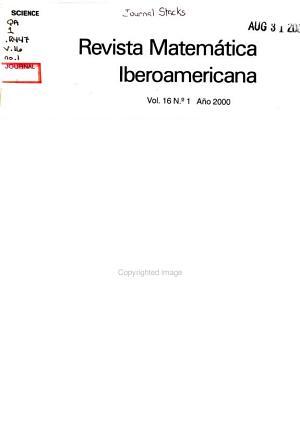 Revista Matem  tica Iberoamericana PDF