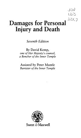 Damages for Personal Injury and Death PDF