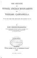 The Sonnets of Michael Angelo Buonarroti and Tommaso Campanella PDF
