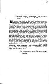 Pointen tot de vergadering van haar edele groot mogende teegen de 3 september 1771