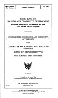 Basic Laws on Housing and Community Development  Revised Through December 31  1998  end of 105th Congress  PDF