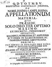 Disputatio ... de nobilissima et amplissima appellationum materia