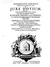 Dissertatio ... de jure dotium