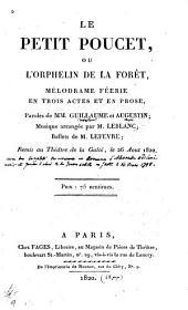 Le petit poucet ou l'orphelin de la forêt: mélodrame féérie en trois actes et en prose