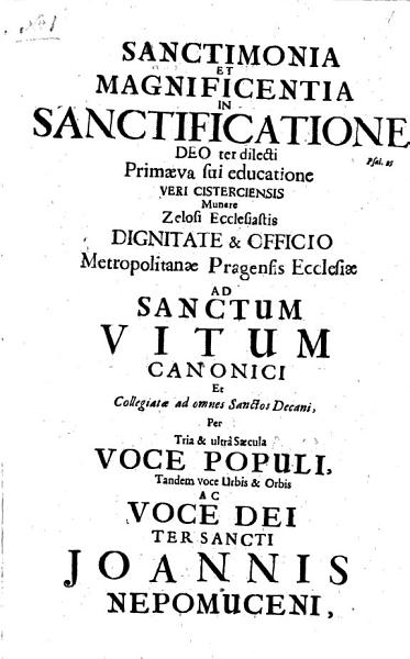 A Collection Of 29 Sermons And Orations In German Latin Or Czech Many Containing Chronograms Commemorating The Canonisation Of St John Nepomuk