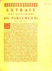 Extrait... des registres... Du 30 avril 1762 [relatif aux économies-séquestres]