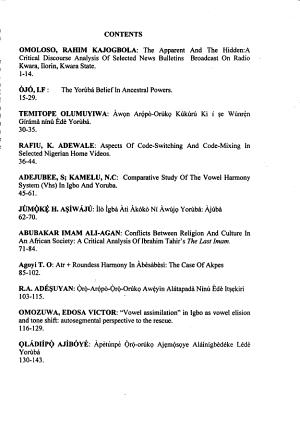 Àkùngbá Journal of Linguistics and Literatures