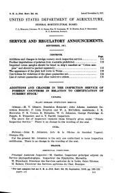 Plant Regulatory Announcements: (1917), Volumes 36-47