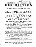 An Historico geographical Description of the North and Eastern Parts of Europe and Asia PDF