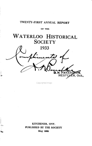 Annual Report of the Waterloo Historical Society PDF