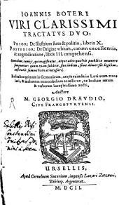 Tractatus duo: de Illustrium Statu et Politia Libri decem