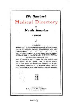 The Standard Medical Directory of North America  1903 4
