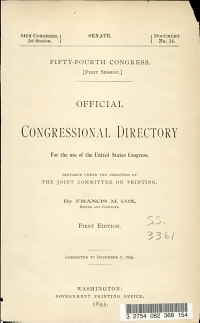 Official Congressional Directory for the Use of the United States Congress  Prepared Under the Direction of the Joint Committee on Printing