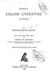 History of English Literature: Volume 1