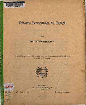 Voltaires Beziehungen zu Turgot PDF