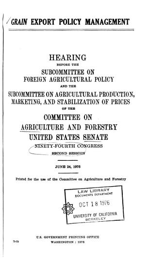 Hearings  Reports and Prints of the Senate Committee on Agriculture and Forestry PDF