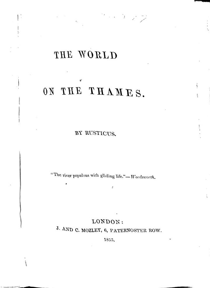 The World on the Thames. By Rusticus