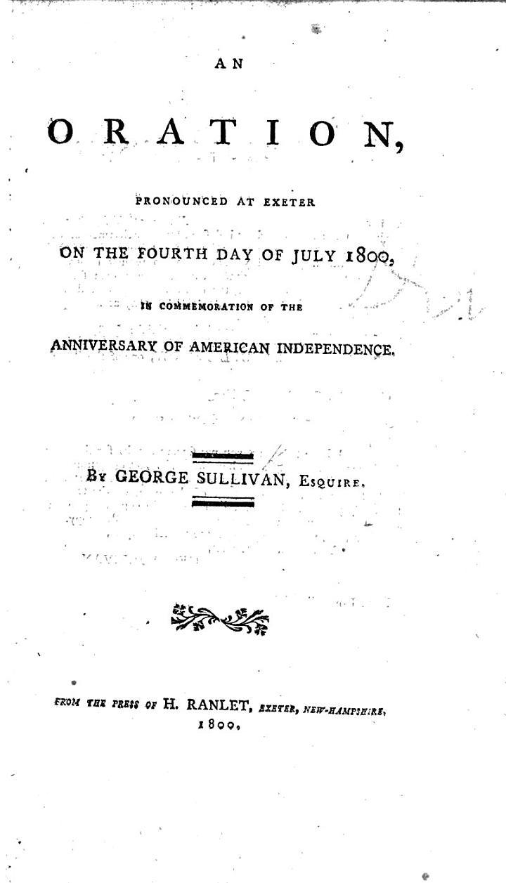 An oration pronounced at Exeter on the fourth day of July, 1800, in commemoration of the anniversary of American Independence