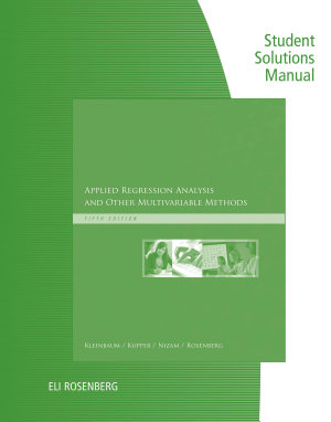 Student Solutions Manual for Kleinbaum s Applied Regression Analysis and Other Multivariable Methods PDF