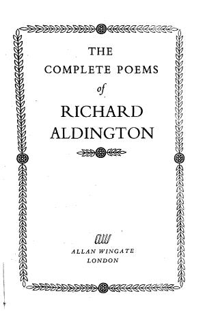 The Complete Poems of Richard Aldington
