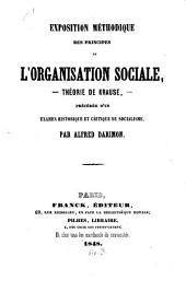 Exposition méthodique des principes de l'organisation sociale, théorie de Krause