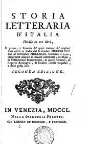 Storia letteraria d'Italia: Volume 1