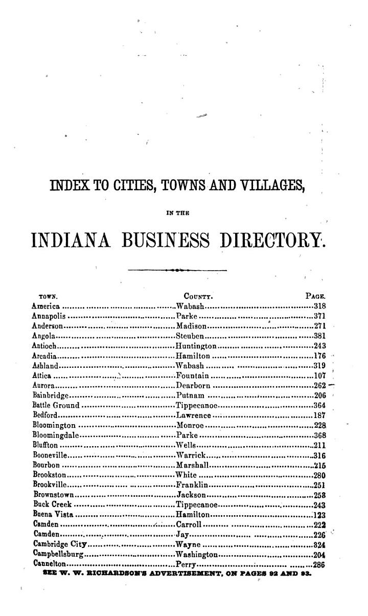 Indiana State Gazetteer and Shippers' Guide for 1866-67