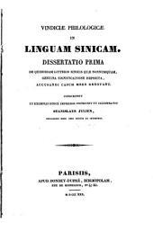 Vindiciae philologicae in linguam sinicam. Dissertatio prima (etc.)