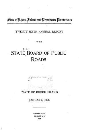 Annual Report of the State Board of Public Roads of the State of Rhode Island
