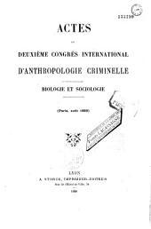 Rome 1885 (Programme, 2 broch. 1885 ; Actes : Biologie et sociologie, 1 vol. 1886): 1ère session