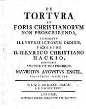 De tortura ex foris christianorum non proscribenda