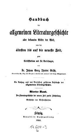 Literaturgeschichte der Neuen Zeit  Geschichte der Wissenschaften PDF