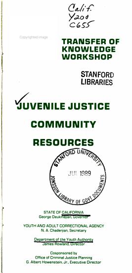 Juvenile Justice Community Resources PDF