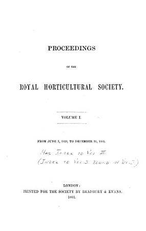 Proceedings of the Royal Horticultural Society PDF