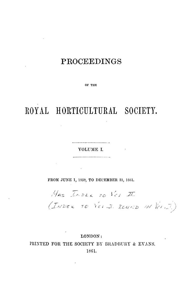 Proceedings of the Royal Horticultural Society
