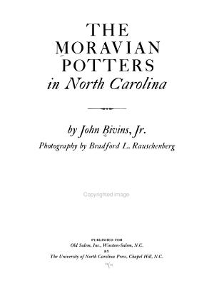 The Moravian Potters in North Carolina