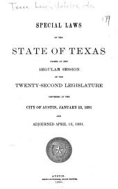 Special Laws Passed by the ... Legislature of the State of Texas