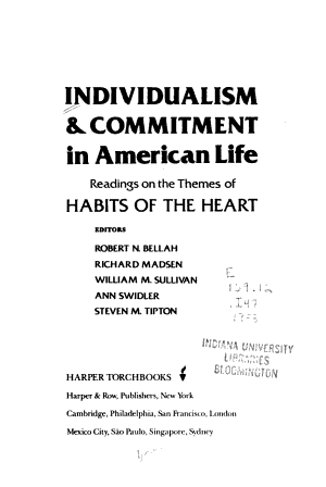 Individualism   Commitment in American Life