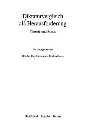 Diktaturvergleich als Herausforderung PDF