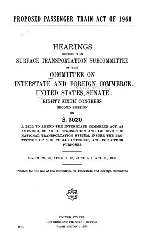 Proposed Passenger Train Act of 1960