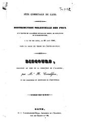 Fête communale de Gand. Distribution solennelle des prix aux élèves de l'Academie royale de dessin, de sculpture et d'architecture [...] 28 août 1842 [...]: discours