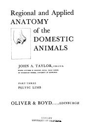 Regional and Applied Anatomy of the Domestic Animals  Pelvic limb PDF