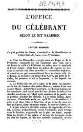 L'office du célébrant selon le rit parisien