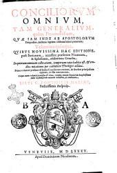 Conciliorum omnium, tam generalium, quam prouincialium, quae iam inde ab Apostolorum temporibus, hactenus legitime celebrata haberi potuerunt; volumina quinque. Quibus nouissima hac editione, post Surianam, accessere praesertim Nicaenum, & Ephesinum, celeberrima concilia. In quorum omnium collocatione, temporum ratio habita est, & eruditae notationes per catholicos theologos additae ... Sixti 5. pontificis maximi, foelicissimis auspicijs: Volume 1