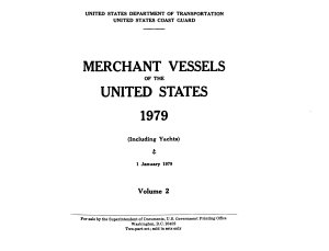 Merchant Vessels of the United States      including Yachts   Book
