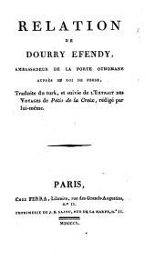Relation de Dourry Efendy, ambassadeur de la Porte Othomane